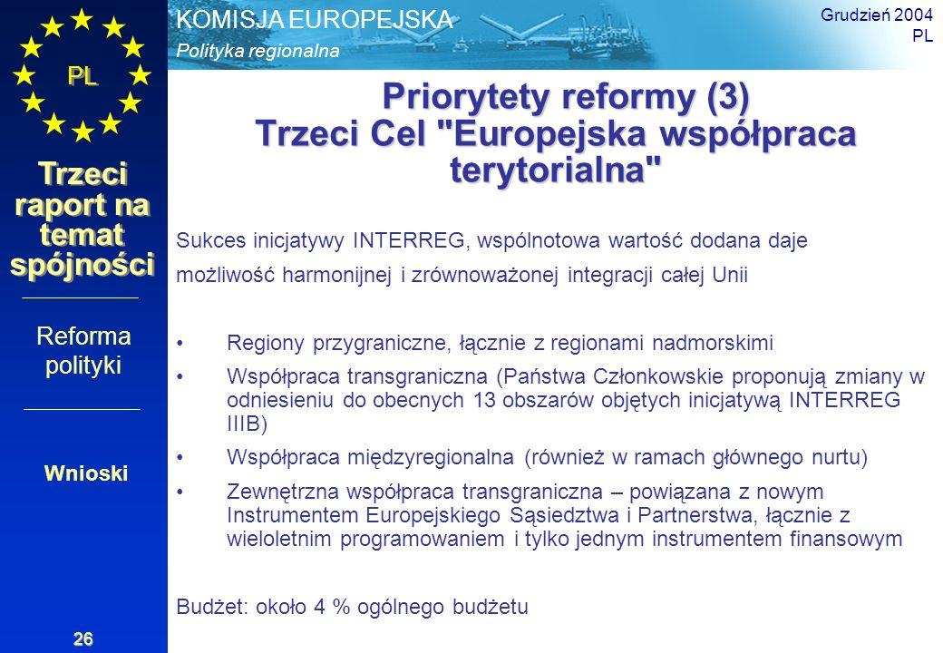 Priorytety reformy (3) Trzeci Cel Europejska współpraca terytorialna
