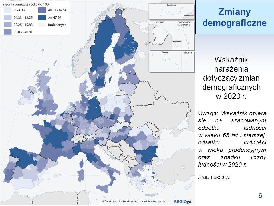 Wskaźnik narażenia dotyczący zmian demograficznych w 2020 r.