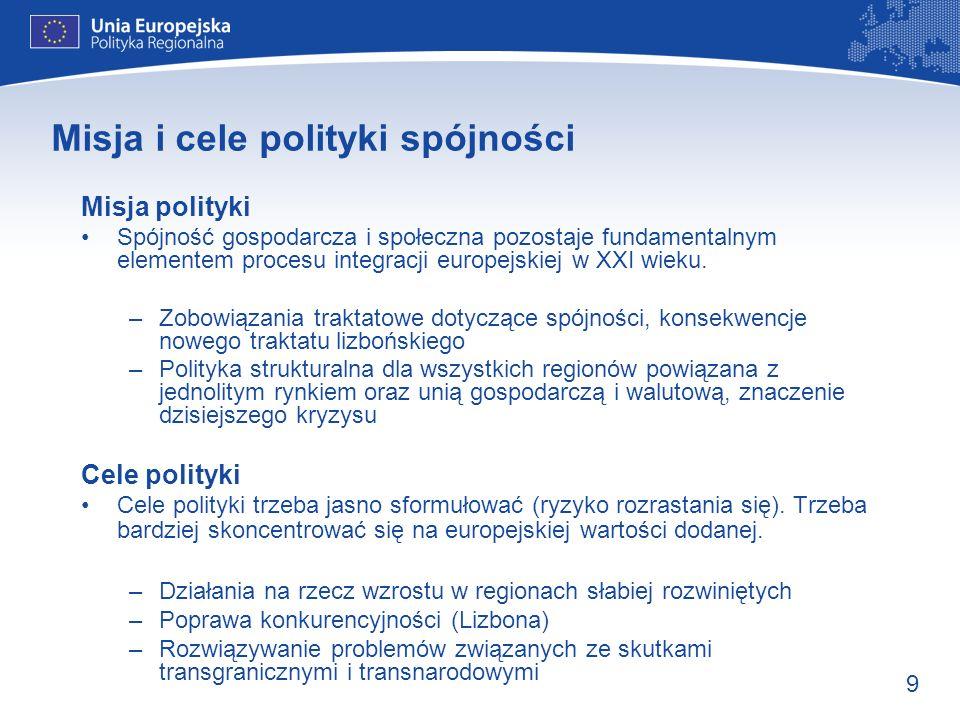 Misja i cele polityki spójności