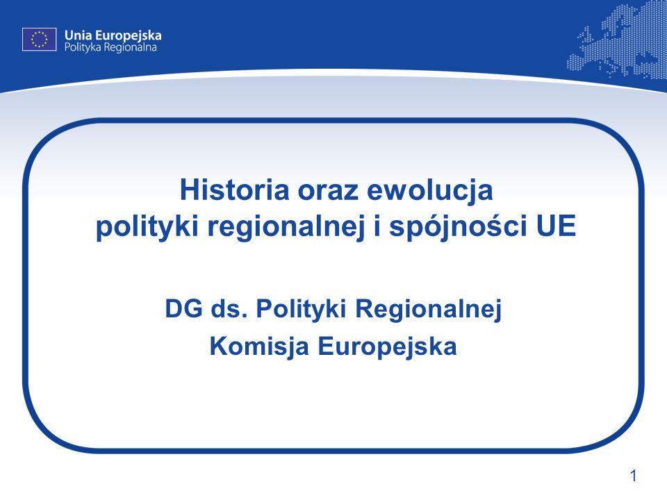 Historia oraz ewolucja polityki regionalnej i spójności UE