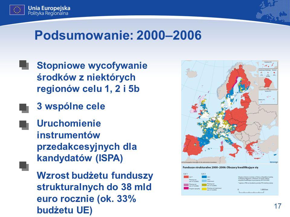 Podsumowanie: 2000–2006 Stopniowe wycofywanie środków z niektórych regionów celu 1, 2 i 5b. 3 wspólne cele.