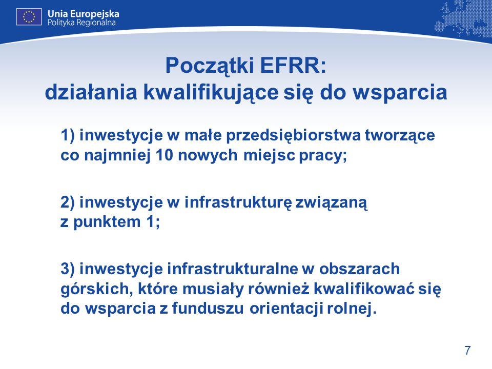 Początki EFRR: działania kwalifikujące się do wsparcia