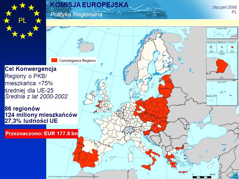 Cel Konwergencja Regiony o PKB/ mieszkańca <75% średniej dla UE-25