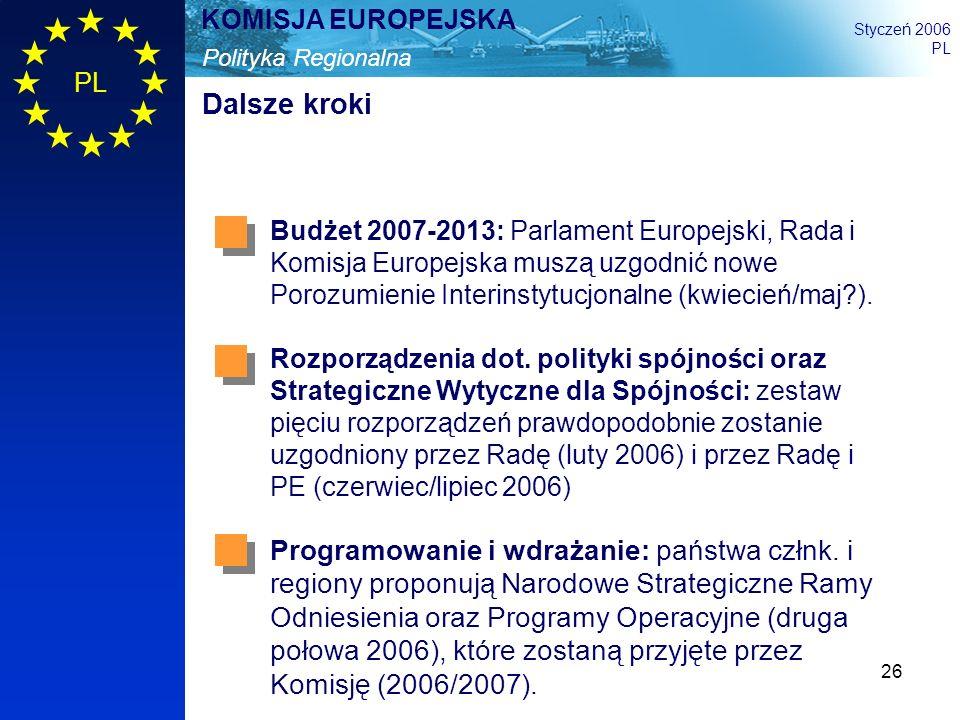 Dalsze kroki Budżet 2007-2013: Parlament Europejski, Rada i Komisja Europejska muszą uzgodnić nowe Porozumienie Interinstytucjonalne (kwiecień/maj ).