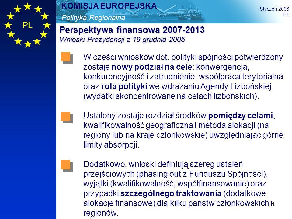 Perspektywa finansowa 2007-2013 Wnioski Prezydencji z 19 grudnia 2005