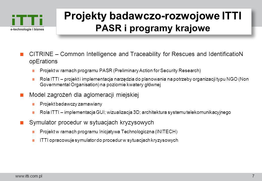 Projekty badawczo-rozwojowe ITTI PASR i programy krajowe