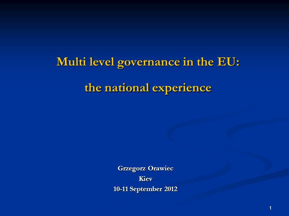 Multi level governance in the EU: the national experience