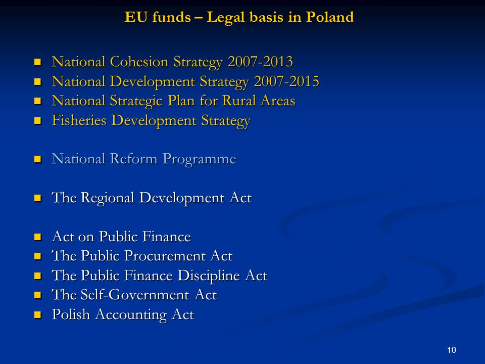 EU funds – Legal basis in Poland