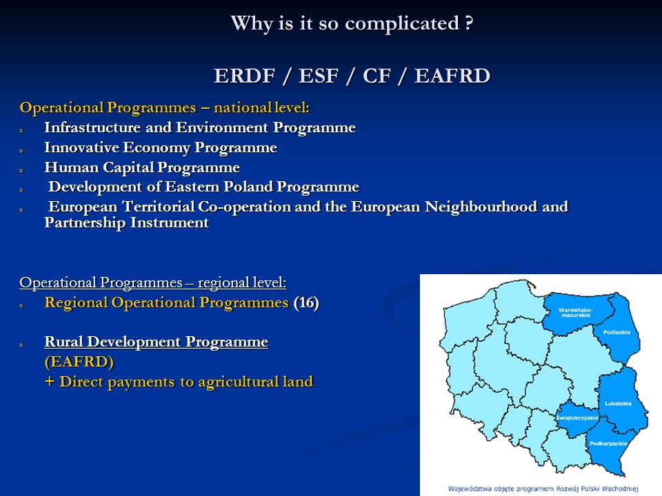 Why is it so complicated ERDF / ESF / CF / EAFRD