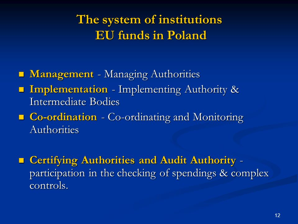 The system of institutions EU funds in Poland
