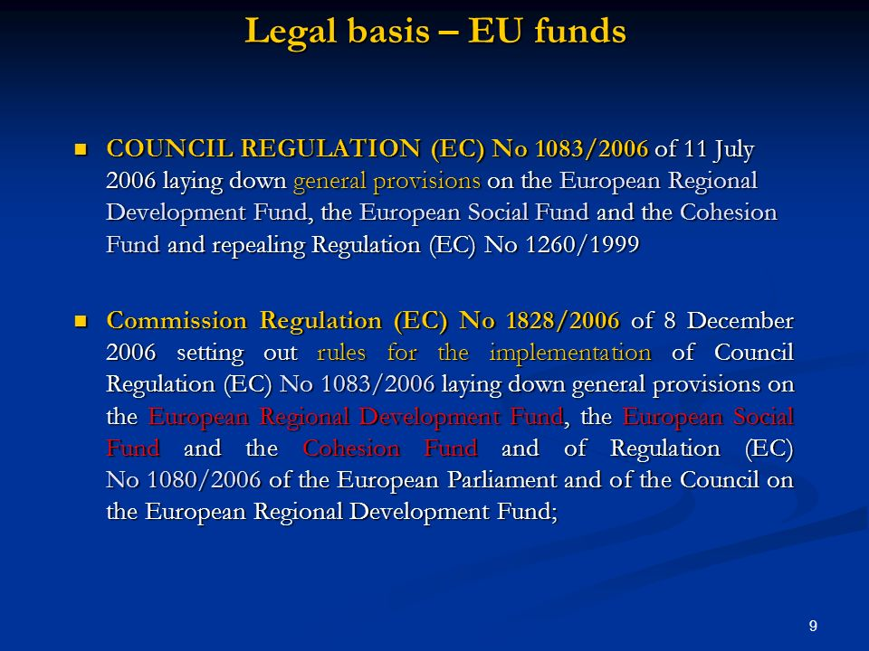 Legal basis – EU funds