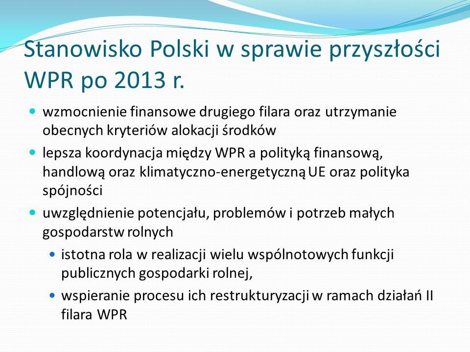 Stanowisko Polski w sprawie przyszłości WPR po 2013 r.