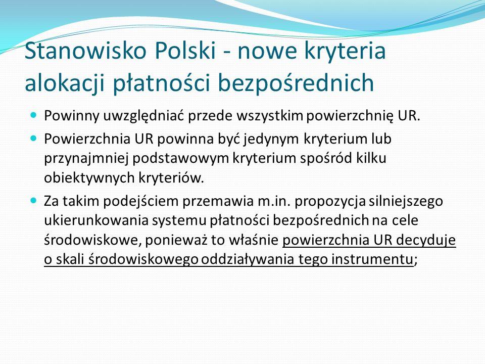 Stanowisko Polski - nowe kryteria alokacji płatności bezpośrednich
