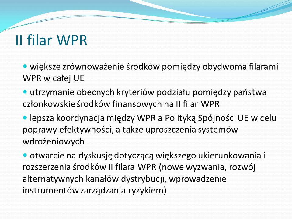II filar WPR większe zrównoważenie środków pomiędzy obydwoma filarami WPR w całej UE.