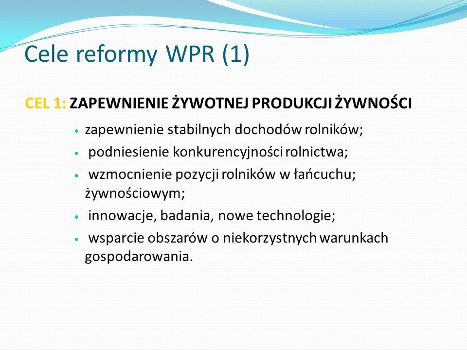 Cele reformy WPR (1) CEL 1: ZAPEWNIENIE ŻYWOTNEJ PRODUKCJI ŻYWNOŚCI