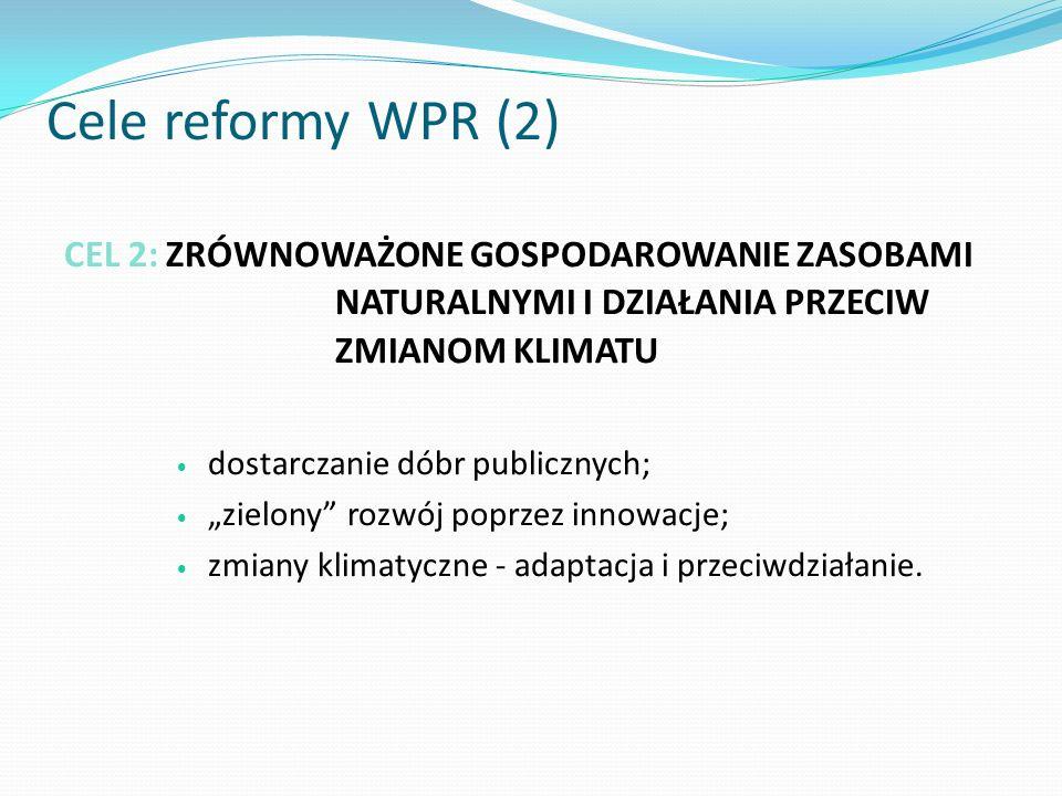Cele reformy WPR (2) CEL 2: ZRÓWNOWAŻONE GOSPODAROWANIE ZASOBAMI NATURALNYMI I DZIAŁANIA PRZECIW ZMIANOM KLIMATU.