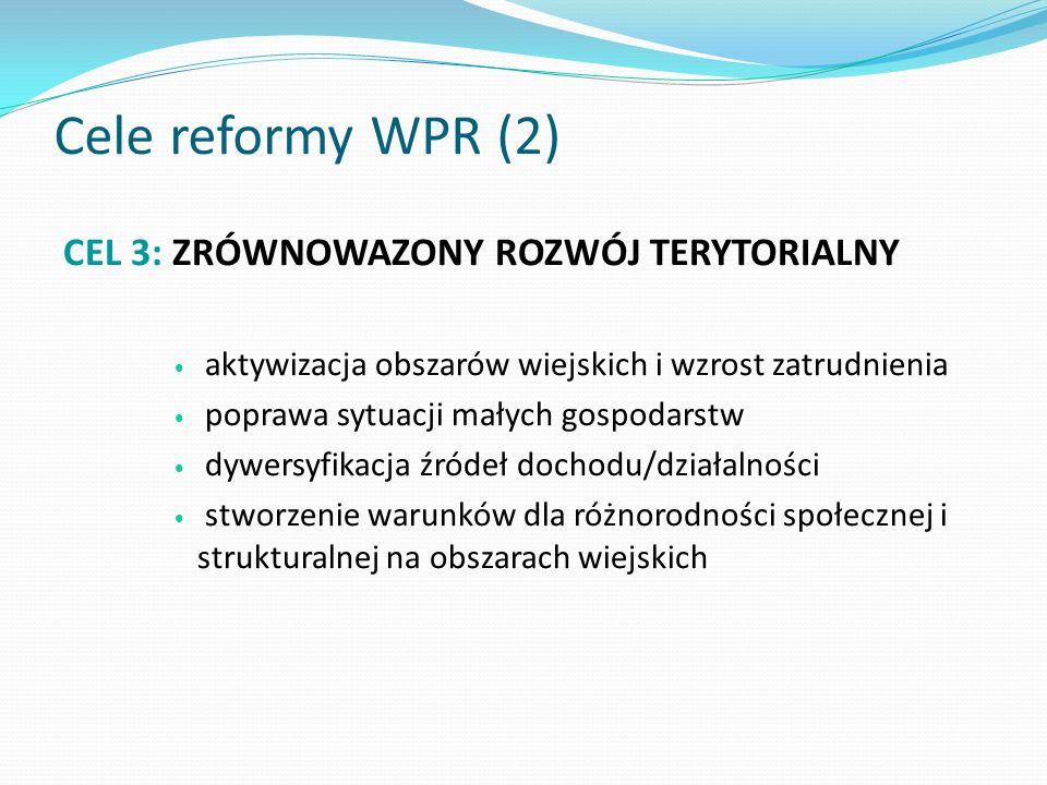Cele reformy WPR (2) CEL 3: ZRÓWNOWAZONY ROZWÓJ TERYTORIALNY
