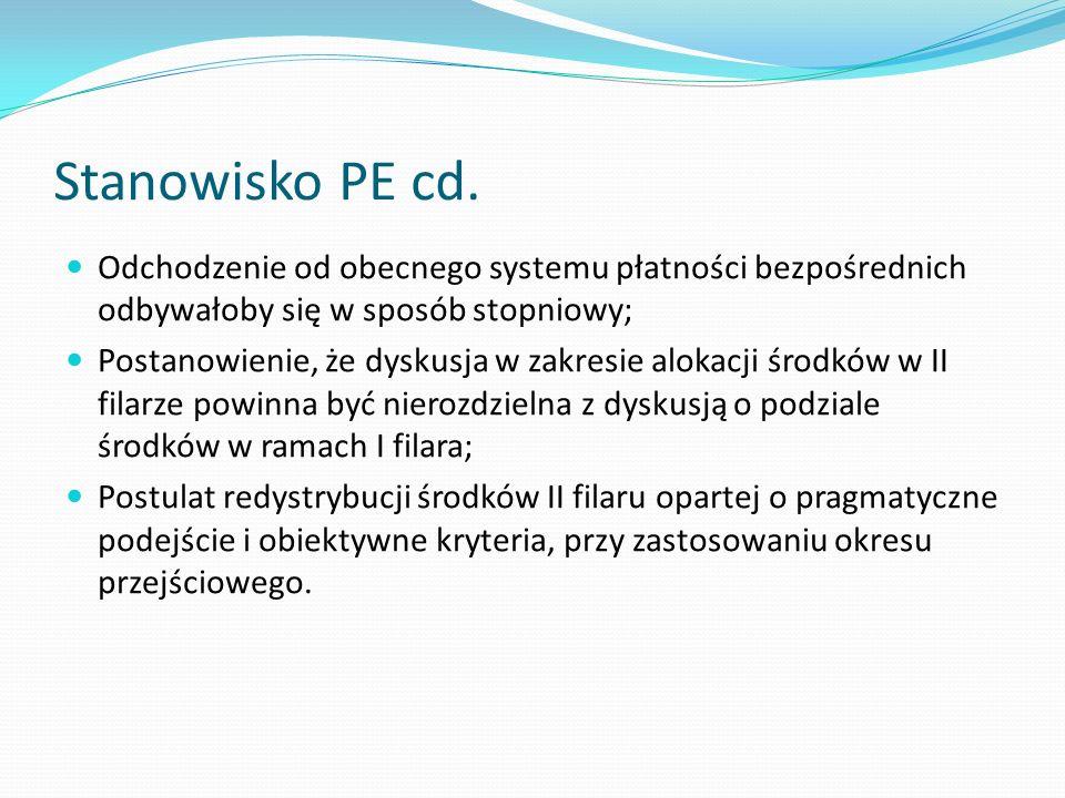 Stanowisko PE cd. Odchodzenie od obecnego systemu płatności bezpośrednich odbywałoby się w sposób stopniowy;