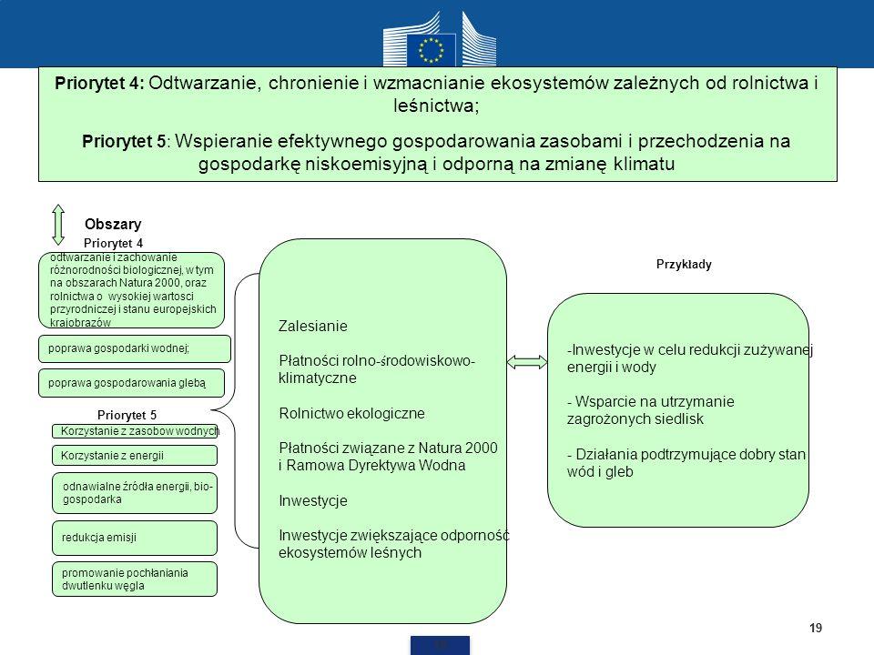 Priorytet 4: Odtwarzanie, chronienie i wzmacnianie ekosystemów zależnych od rolnictwa i leśnictwa;