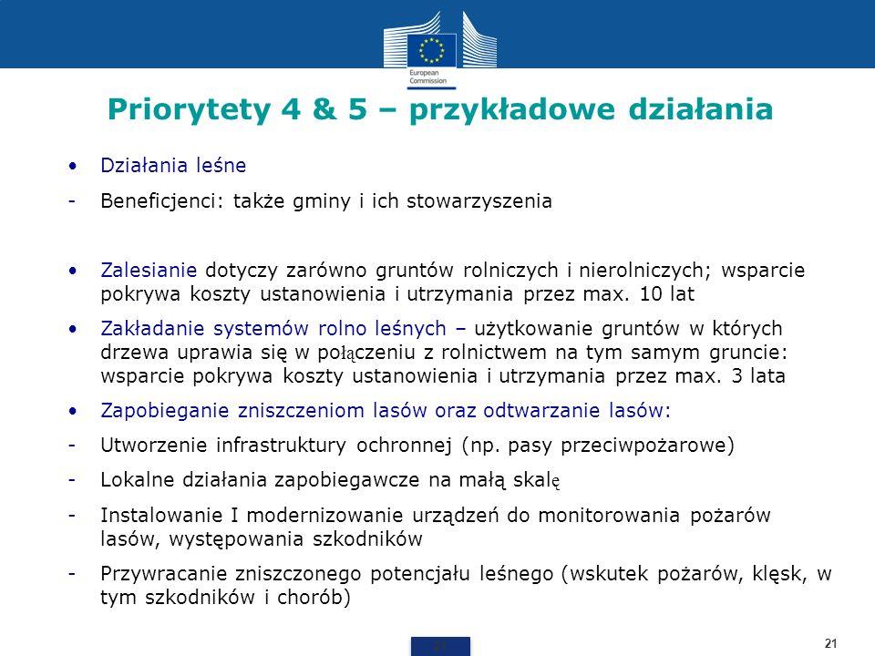 Priorytety 4 & 5 – przykładowe działania