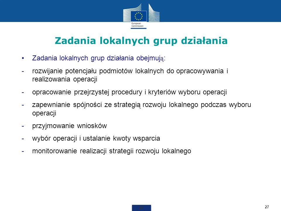 Zadania lokalnych grup działania