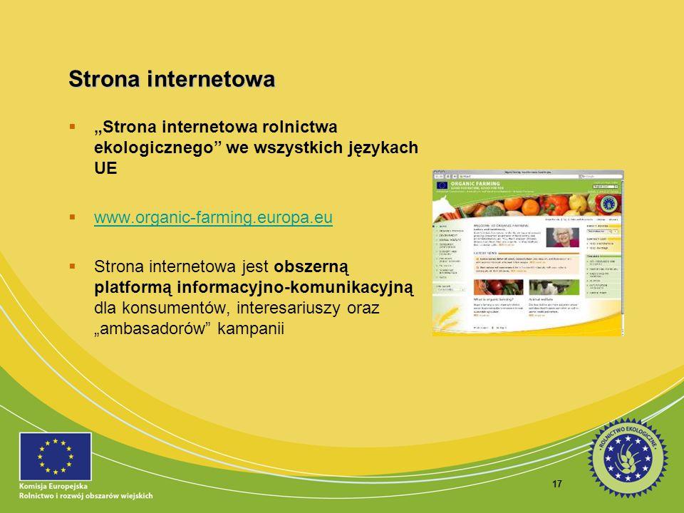 """Strona internetowa """"Strona internetowa rolnictwa ekologicznego we wszystkich językach UE. www.organic-farming.europa.eu."""
