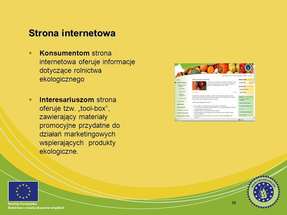 Strona internetowa Konsumentom strona internetowa oferuje informacje dotyczące rolnictwa ekologicznego.