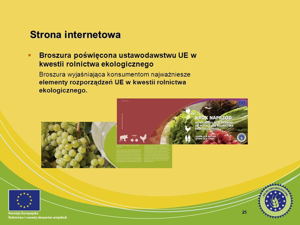 Strona internetowa Broszura poświęcona ustawodawstwu UE w kwestii rolnictwa ekologicznego.