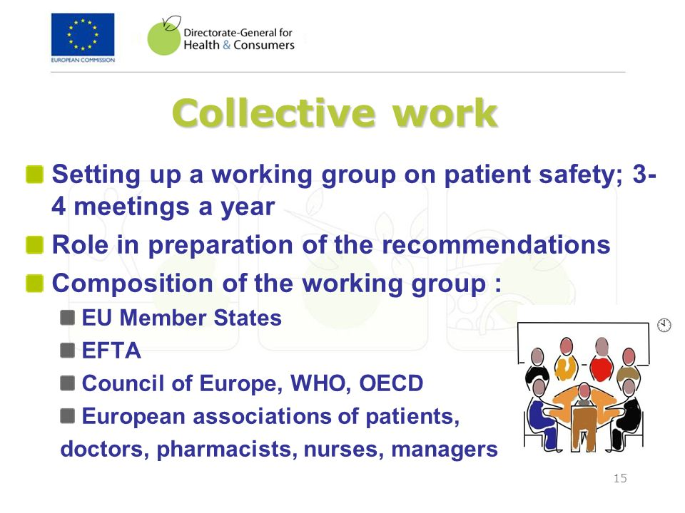 Collective work Setting up a working group on patient safety; 3-4 meetings a year. Role in preparation of the recommendations.