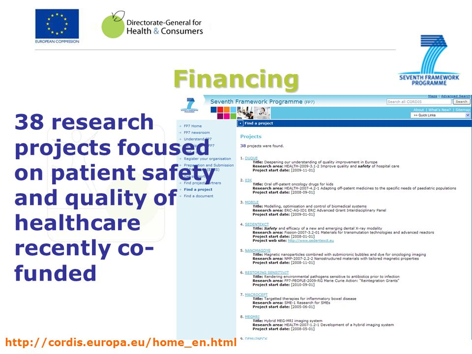 Financing 38 research projects focused on patient safety and quality of healthcare recently co-funded.