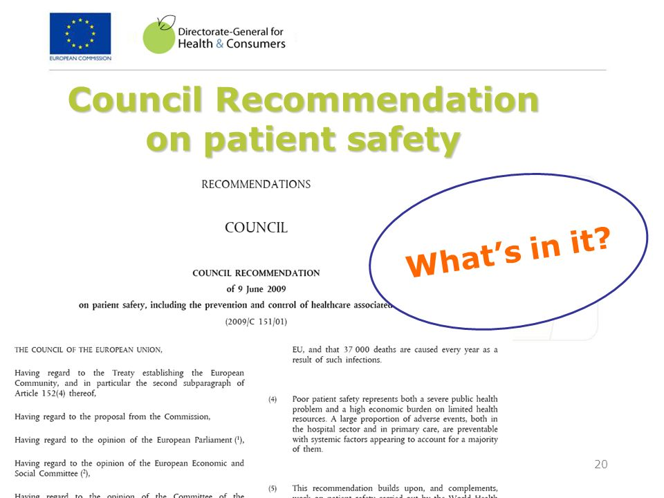 Council Recommendation on patient safety