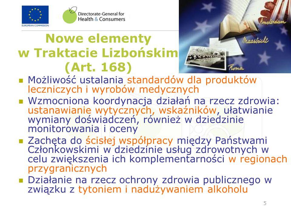 Nowe elementy w Traktacie Lizbońskim (Art. 168)
