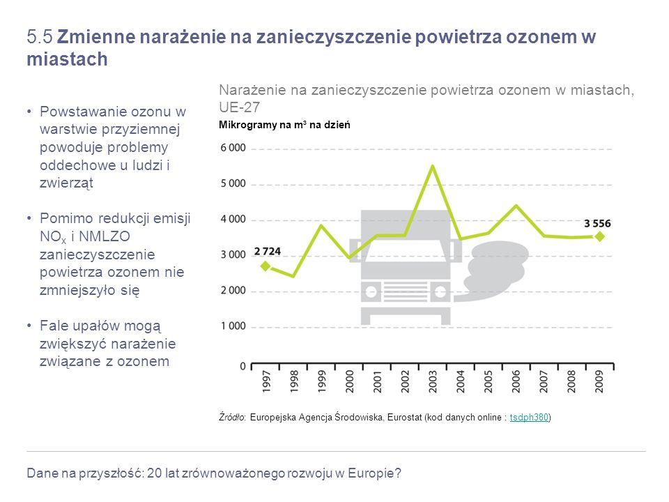 5.5 Zmienne narażenie na zanieczyszczenie powietrza ozonem w miastach