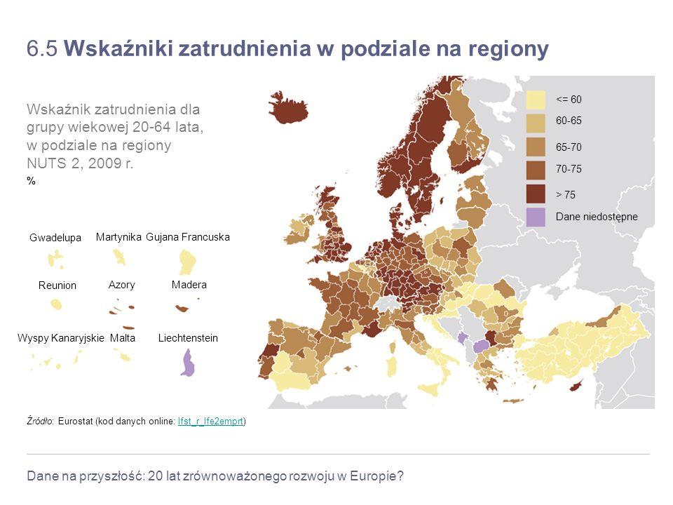 6.5 Wskaźniki zatrudnienia w podziale na regiony