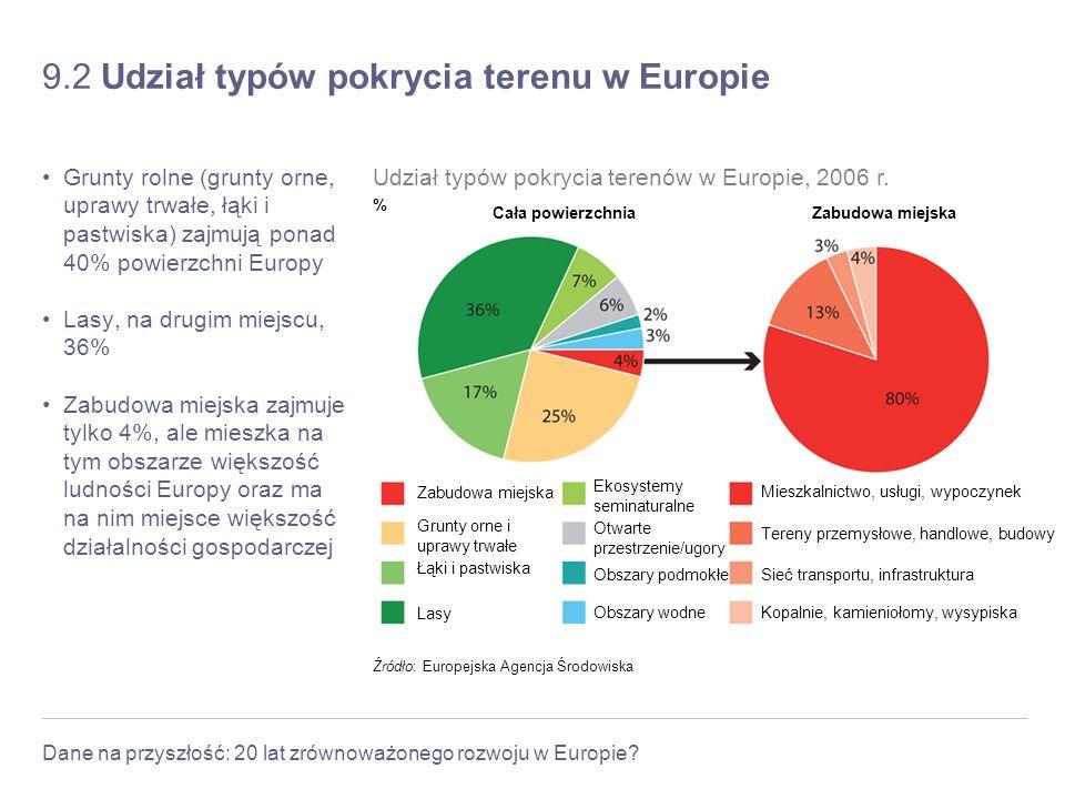 9.2 Udział typów pokrycia terenu w Europie