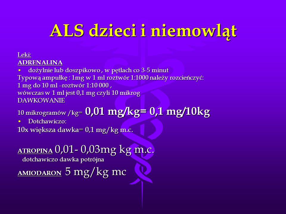 ALS dzieci i niemowląt 10x większa dawka= 0,1 mg/kg m.c. Leki: