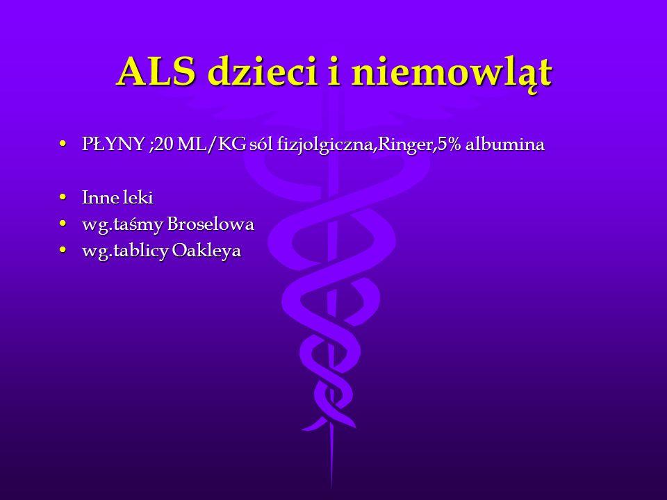 ALS dzieci i niemowlątPŁYNY ;20 ML/KG sól fizjolgiczna,Ringer,5% albumina. Inne leki. wg.taśmy Broselowa.