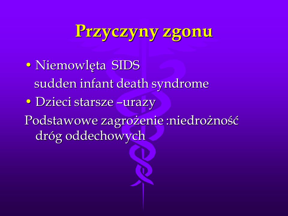 Przyczyny zgonu Niemowlęta SIDS sudden infant death syndrome