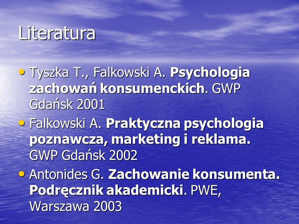 Literatura Tyszka T., Falkowski A. Psychologia zachowań konsumenckich. GWP Gdańsk 2001.
