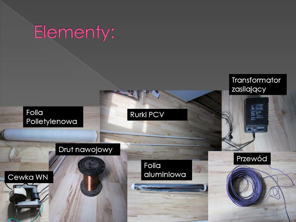 Elementy: Transformator zasilający Folia Polietylenowa Rurki PCV