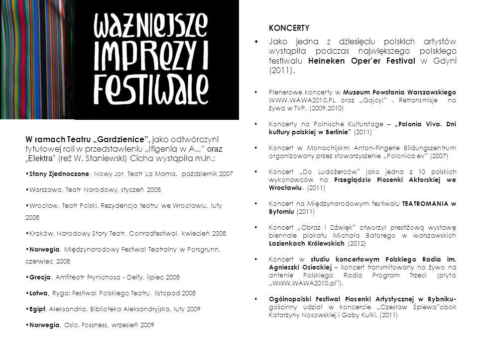 KONCERTYJako jedna z dziesięciu polskich artystów wystąpiła podczas największego polskiego festiwalu Heineken Oper'er Festival w Gdyni (2011).