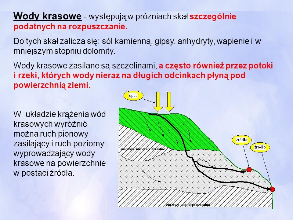 Wody krasowe - występują w próżniach skał szczególnie podatnych na rozpuszczanie.