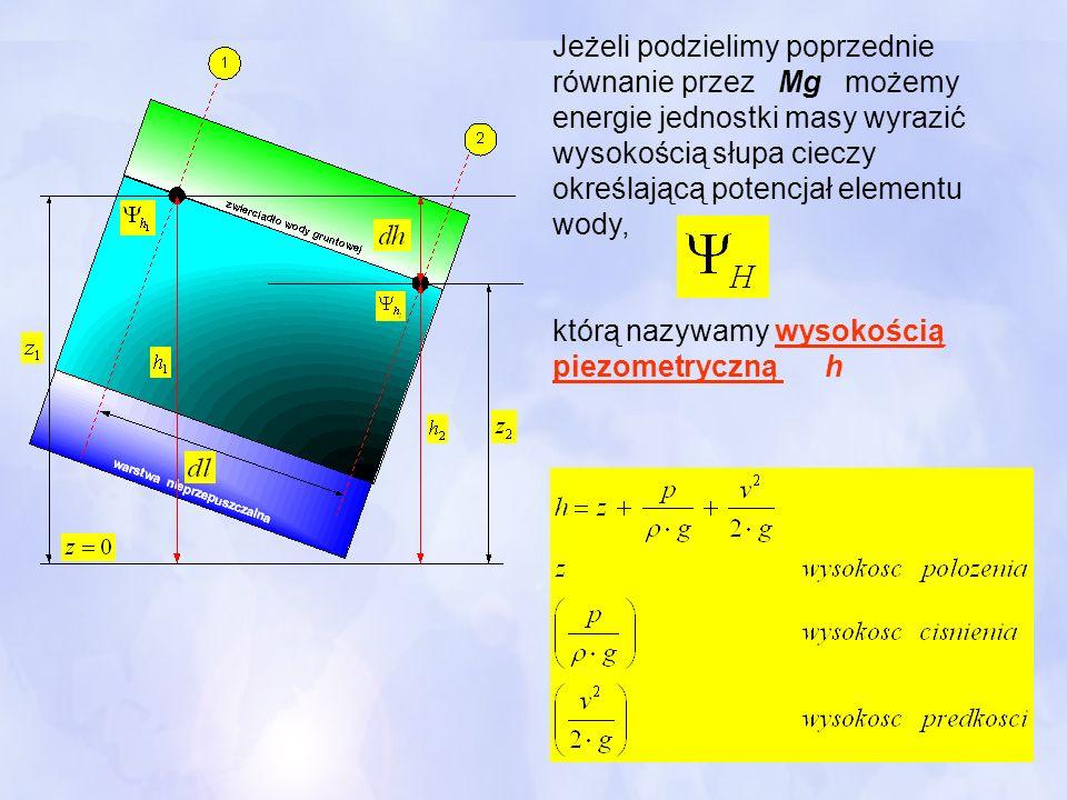 Jeżeli podzielimy poprzednie równanie przez Mg możemy energie jednostki masy wyrazić wysokością słupa cieczy określającą potencjał elementu wody,