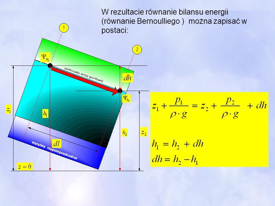 W rezultacie równanie bilansu energii (równanie Bernoulliego ) można zapisać w postaci:
