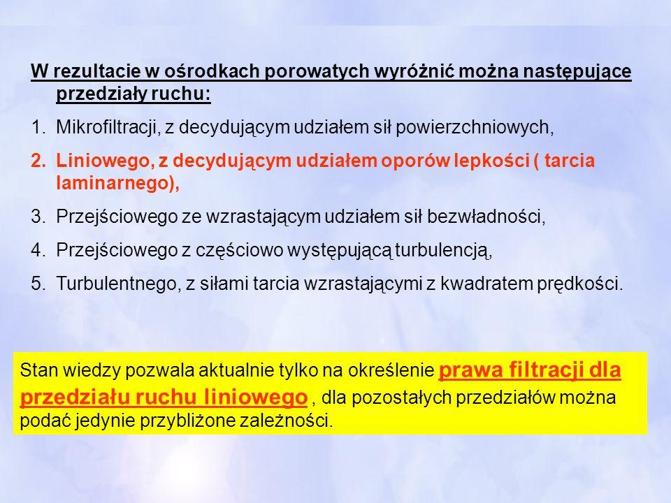W rezultacie w ośrodkach porowatych wyróżnić można następujące przedziały ruchu: