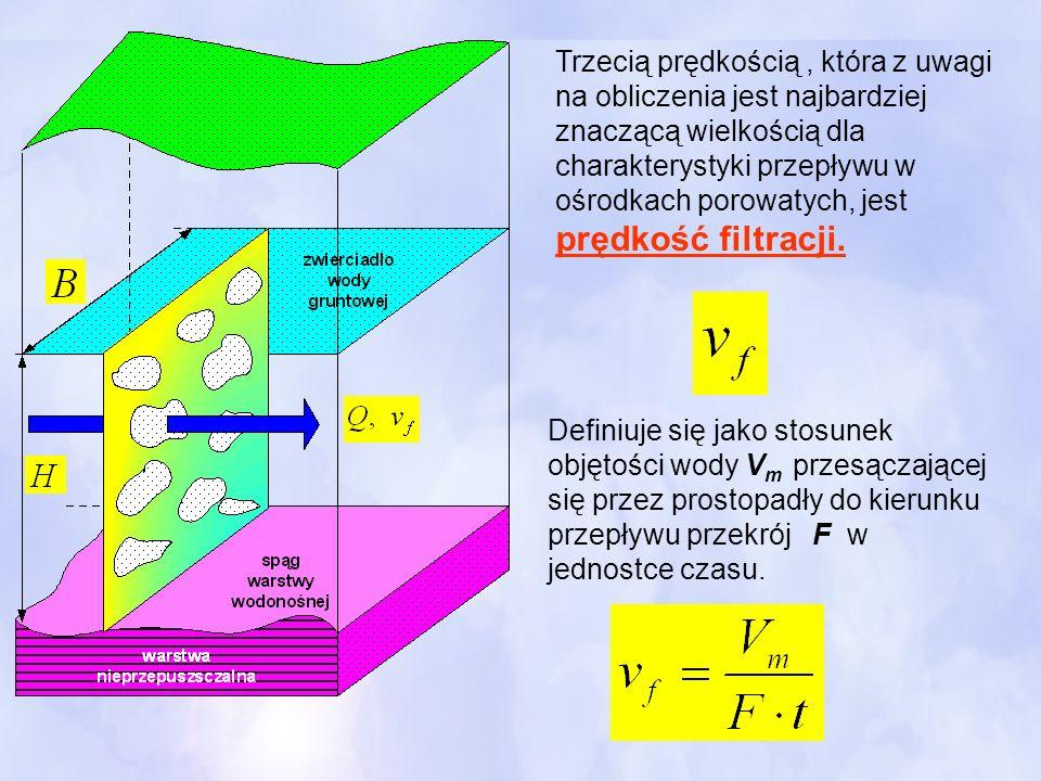 Trzecią prędkością , która z uwagi na obliczenia jest najbardziej znaczącą wielkością dla charakterystyki przepływu w ośrodkach porowatych, jest prędkość filtracji.