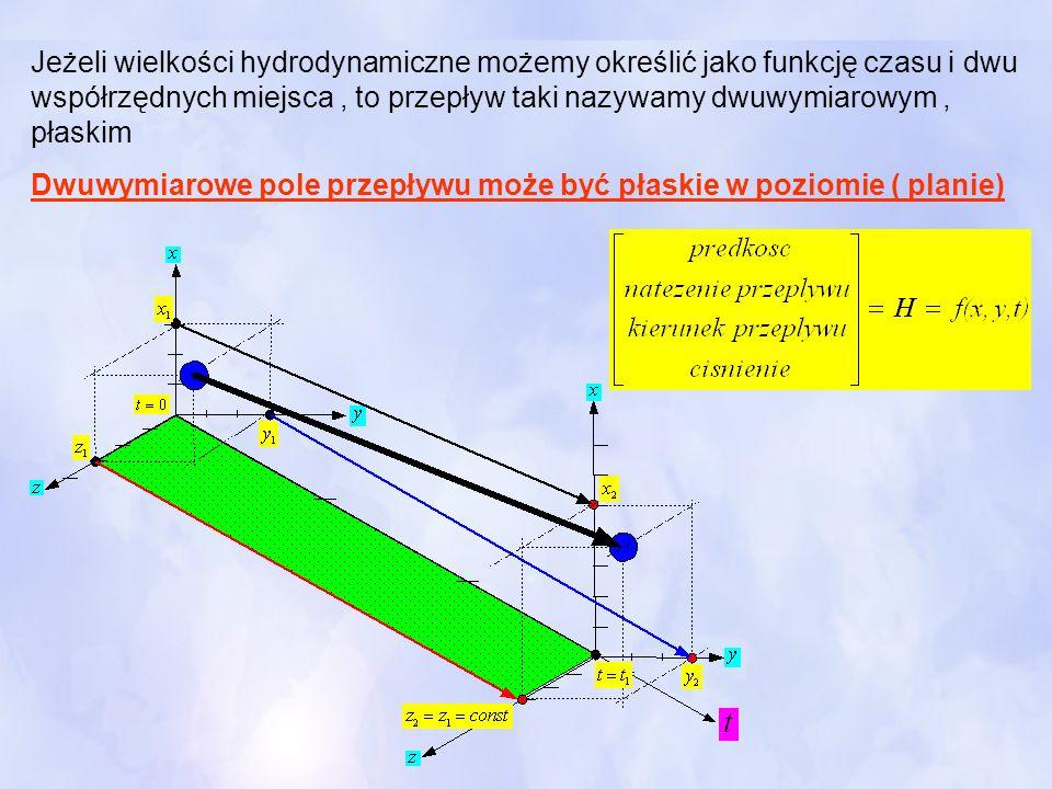 Jeżeli wielkości hydrodynamiczne możemy określić jako funkcję czasu i dwu współrzędnych miejsca , to przepływ taki nazywamy dwuwymiarowym , płaskim
