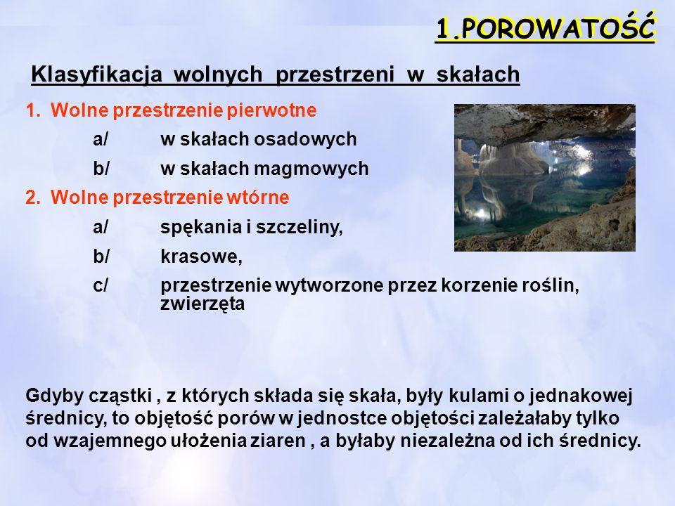 1.POROWATOŚĆ Klasyfikacja wolnych przestrzeni w skałach