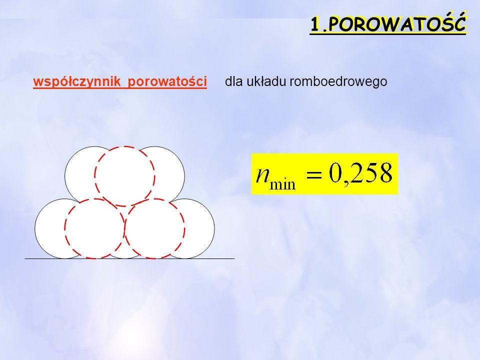 1.POROWATOŚĆ współczynnik porowatości dla układu romboedrowego