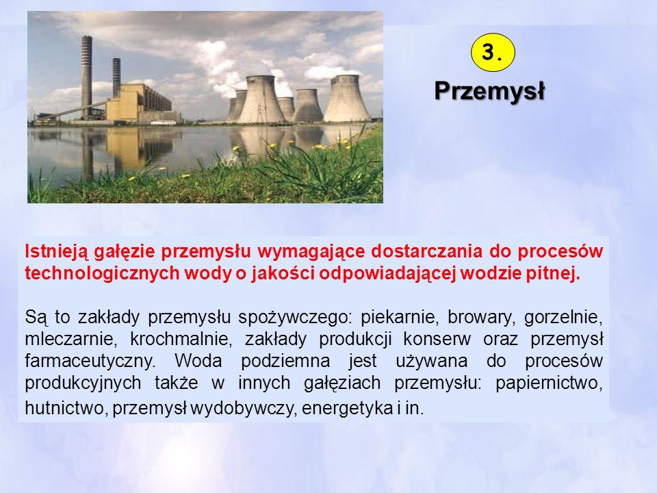 3.Przemysł. Istnieją gałęzie przemysłu wymagające dostarczania do procesów technologicznych wody o jakości odpowiadającej wodzie pitnej.